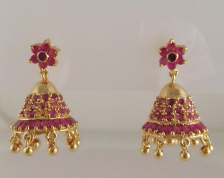 4206f5382 US$ 22/Pair Code : EJH-13F. 1gm gold Jhumka with Ruby Stones