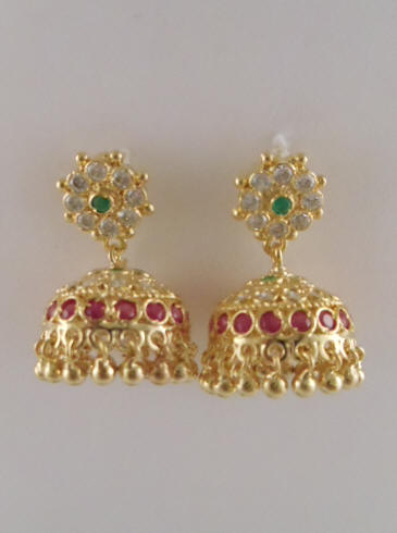 1c427f878 1gm gold Jhumka with Ruby Color Stones (1