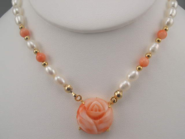 coral rose pendant with pearl