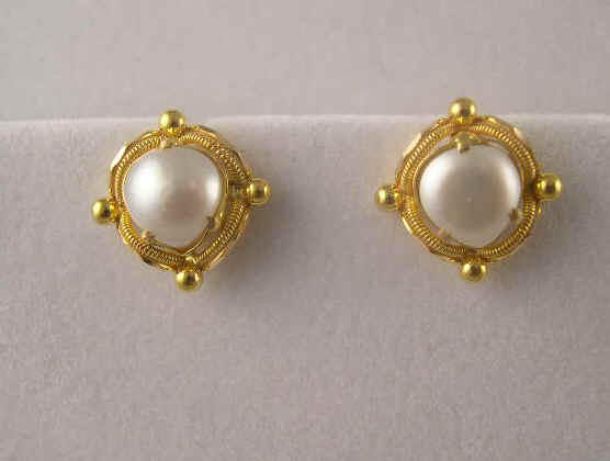 22k Gold Black Onyx And Pearl Earrings Sold