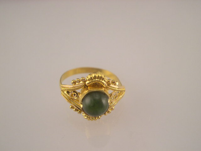 22 K Gold Jade Baby Finger Ring