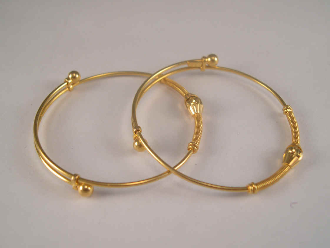 22k Gold Baby Adjule Bangle Bracelet