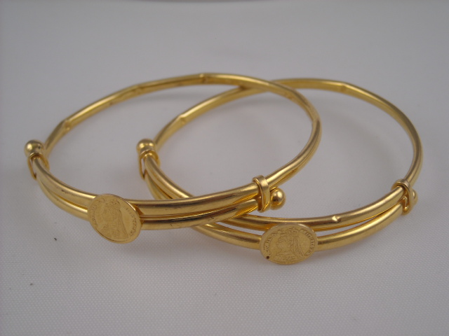 22k Gold Baby Bracelets Earrings And Rings