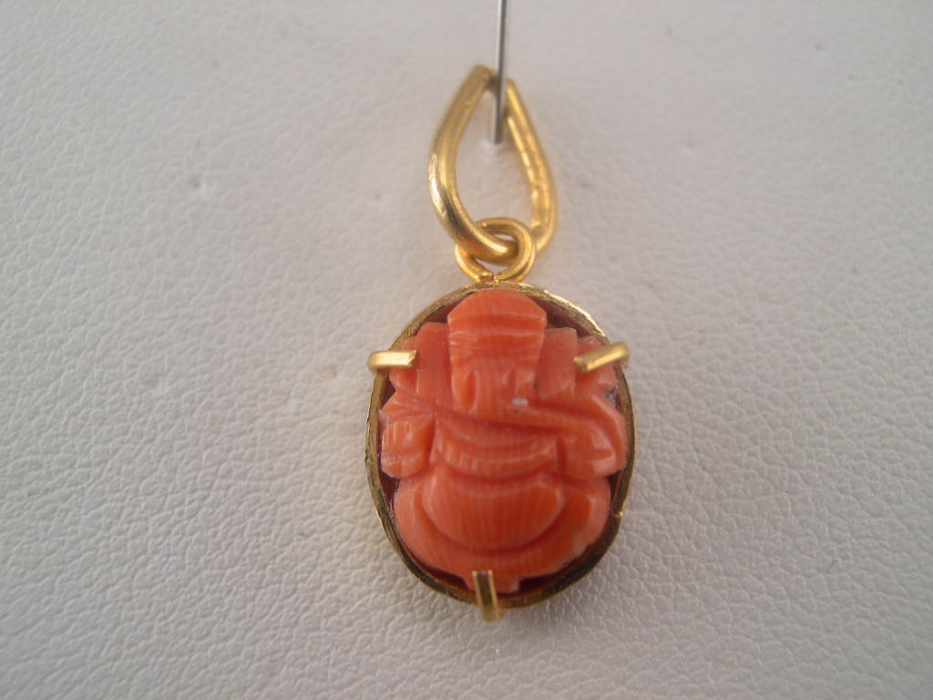 Gold coral jewelry beautiful coral ganesha pendants in 22k gold coral ganesha pendant aloadofball Image collections
