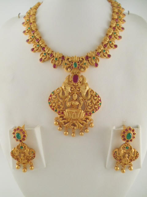 Antique jewelry necklace sets antique jewelry lakshmi coin necklace earring made with ruby stones adjustable necklace with tassel aloadofball Gallery