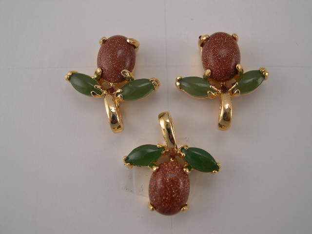 gold stone earring and pendant