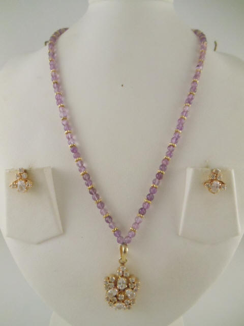 cd09154ea6a164 Indian Jewelry made with Amethyst 4mm beads and White Stones Pendant and  Earring 18