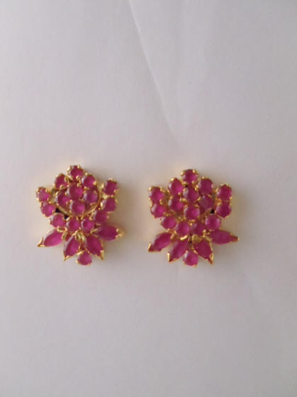 Ruby Color Stone Earrings