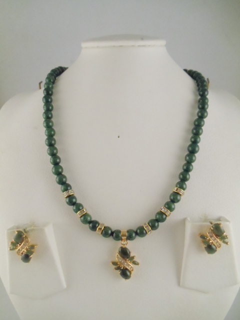 Jade Necklace 6mm Dyed Be And Pearl Pendant Us 27 Earring 16 Code Jd 34
