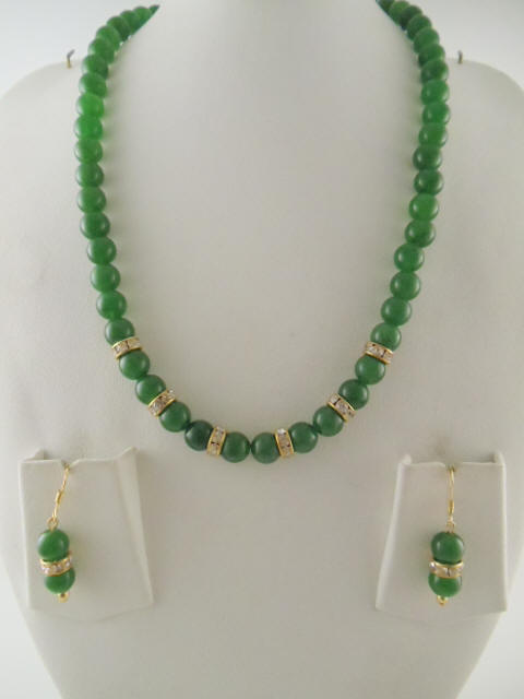 Jade Jewelry Made With Dyed 8mm 16 Long Necklace And Drop Earring
