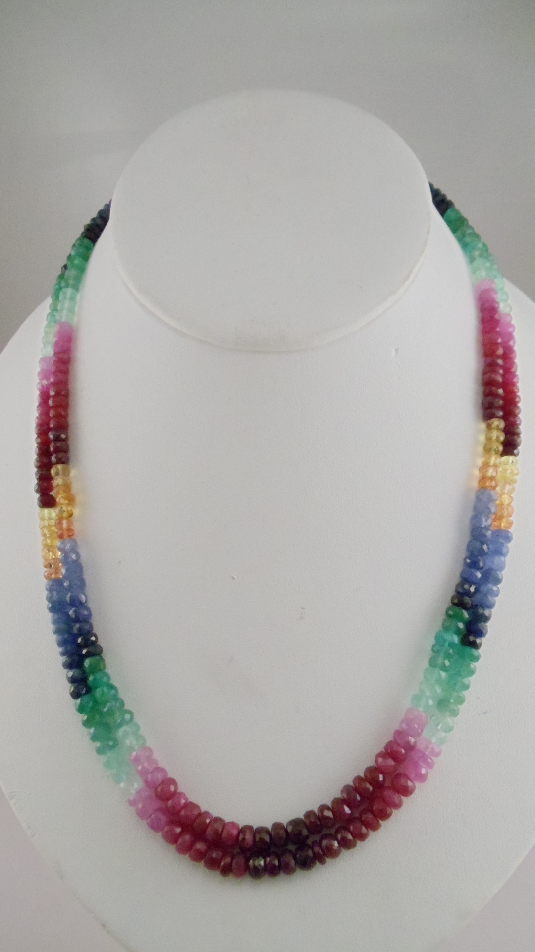 Ruby sapphire and emerald facetted multi color necklaces genuine ruby sapphire emerald facetted beads bead size 45mm to 55mm graduated double layer necklace 16 long necklace us 260 code m 01a mozeypictures Gallery