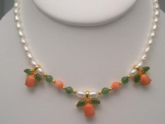 OLD Coral Jewelry Italian Red Coral Pink Coral Jade Pearl