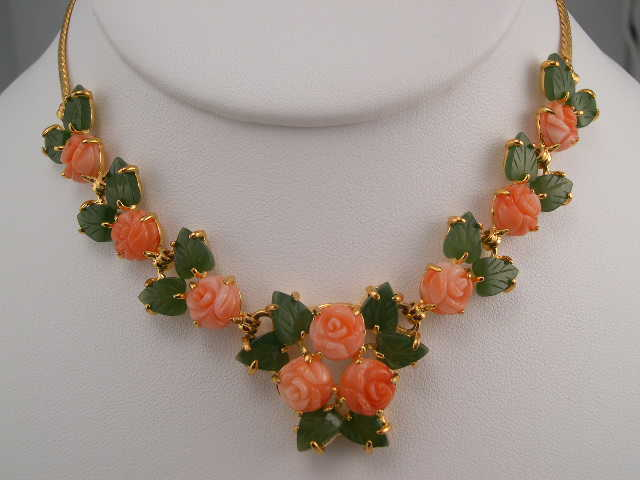 coral roses necklace sets