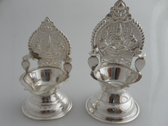 Pure Silver Oil Lamps Indian Pooja Oil Lamps
